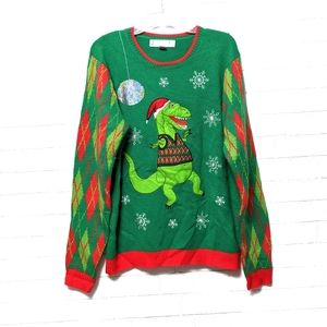Sweaters - Dancing T-Rex Argyle Ugly Christmas Sweater L